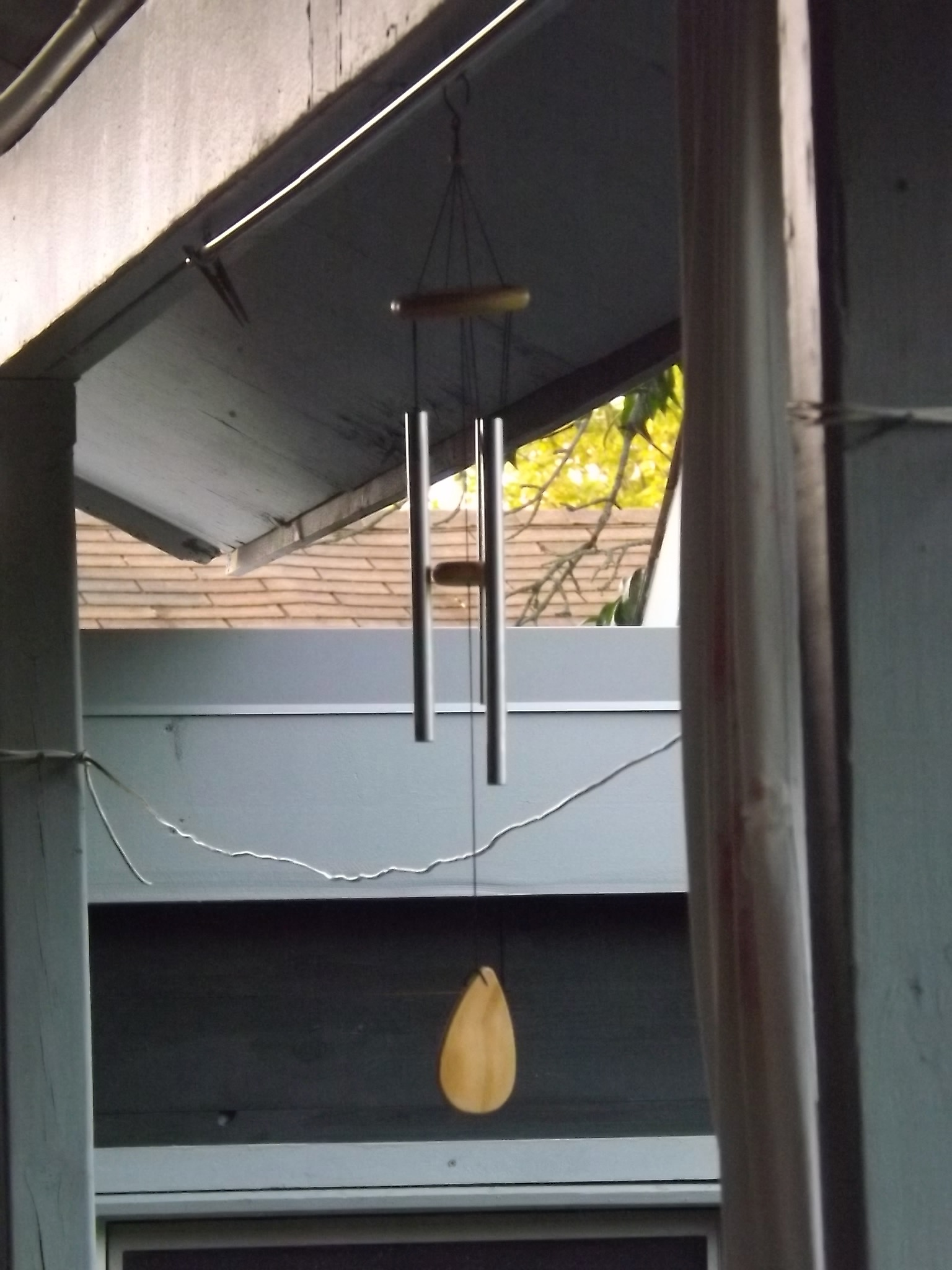 chimes hanging on the back porch