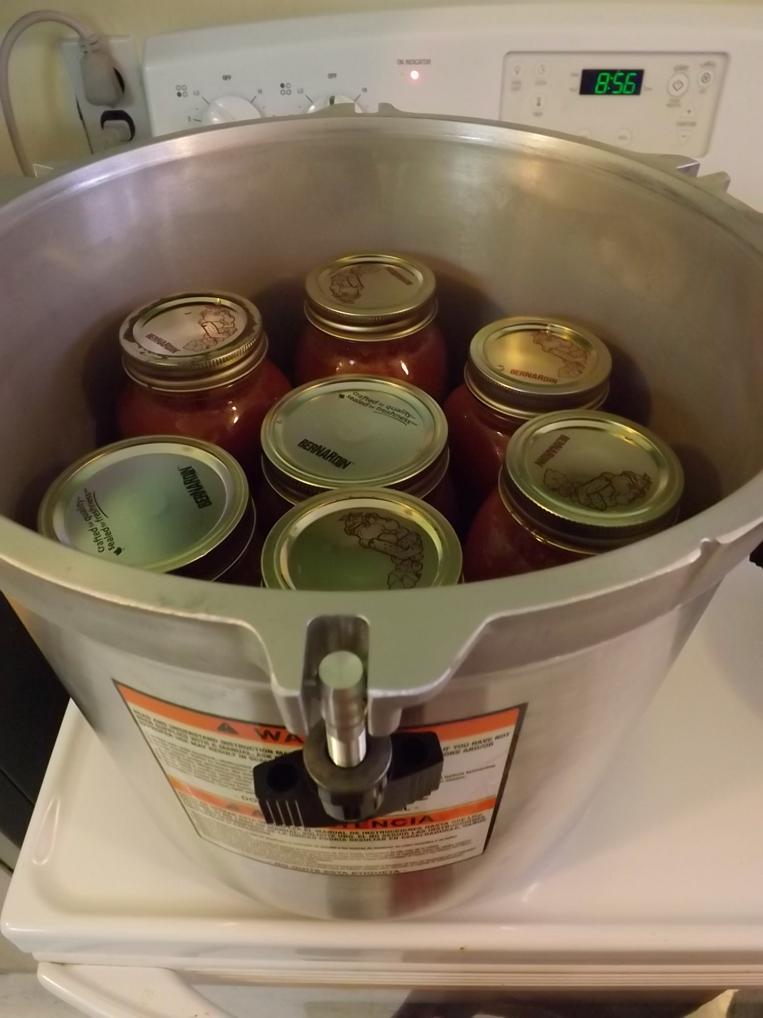 canning jars in a pressure canner