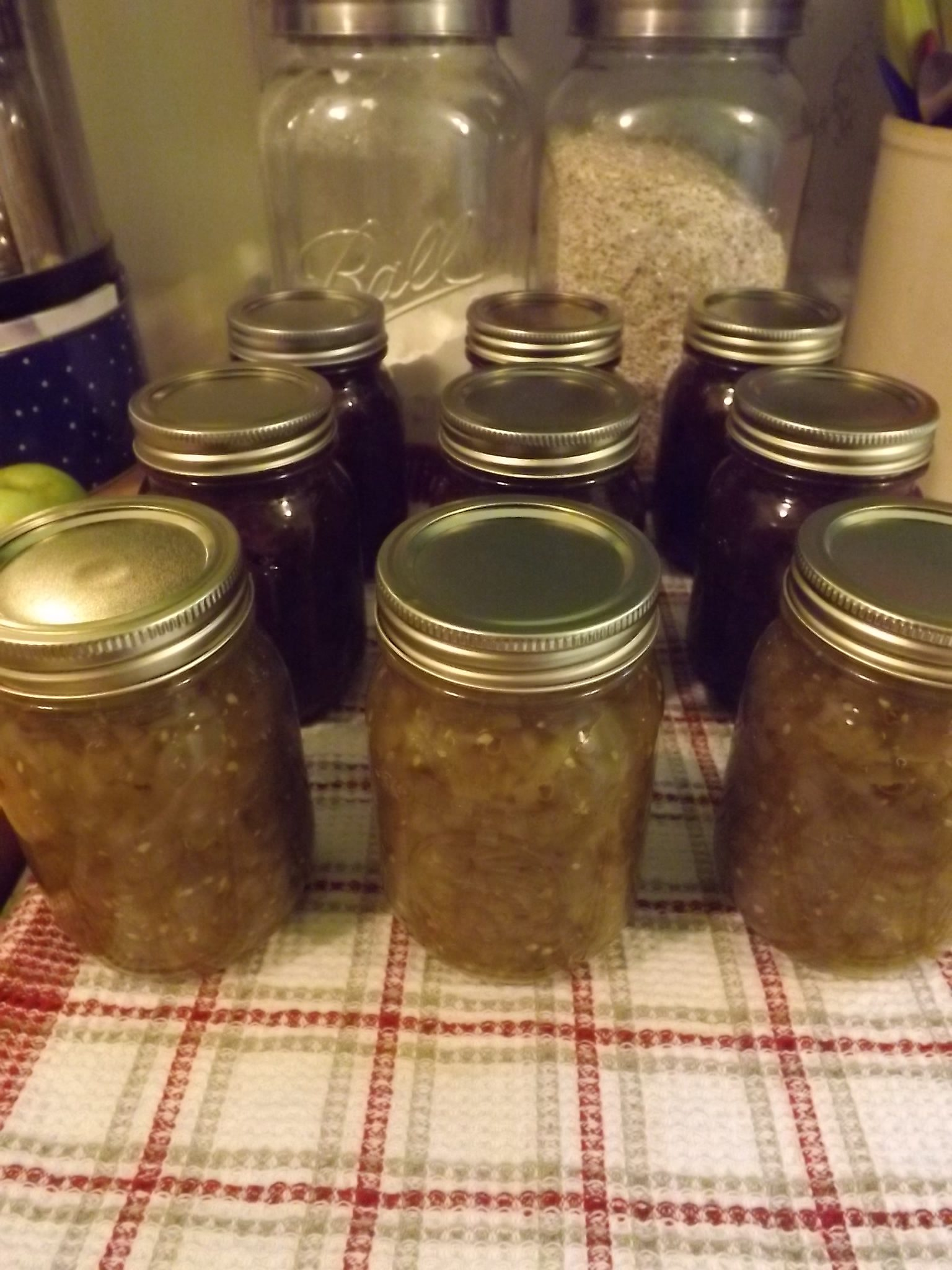 jars of mincemeat and relish