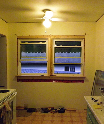 dining room windows partially installed