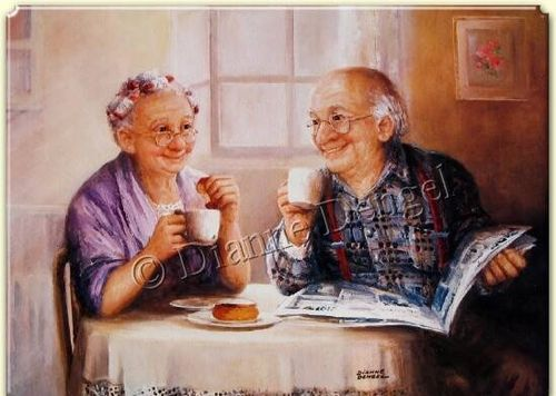 Elderly couple with coffee