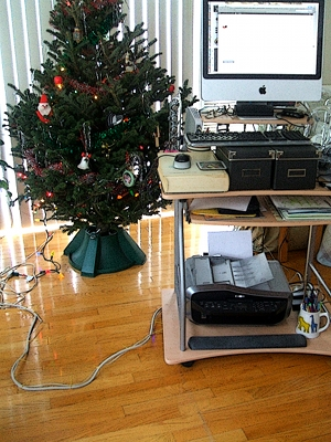 "This is my desk, used as a ""standing desk"".  It is on castors so that I can follow the heat in winter and angle the screen to minimize reflection.  The long cord is the power supply and the modem cable, long enough to move the desk anywhere I need it to go.  Everything is on  the cart, the computer sits on the CD shelf, the printer below, and everything else is placed for easy reach.  It is a jerry-rigged affair, but it works well fo me."